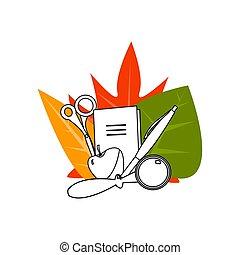 escola, jogo, escola, folhas, costas, ilustração, outono, vetorial, material