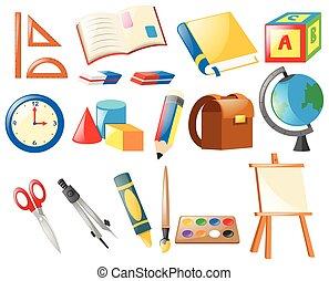 escola, jogo, objetos