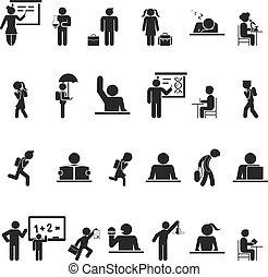 escola, jogo, silueta, ícones, pretas, crianças