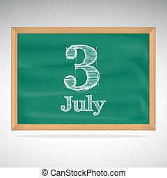 escola, julho, calendário, 3, data, tábua, dia