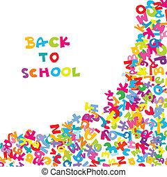escola, letras, costas, fundo