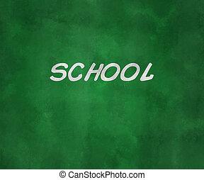 escola, ligado, verde, junta giz