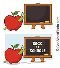 escola, maçã, personagem, costas, verme, junta giz, mascote, caricatura, vermelho, feliz