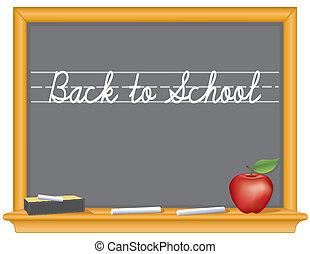 escola, maçã, quadro-negro, costas