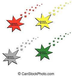 escola meio, estrela, costas