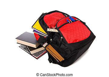 escola, mochila, transbordante, com, materiais