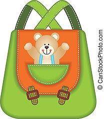 escola, mochila, urso, pelúcia