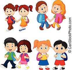 escola, mochilas, caricatura, crianças