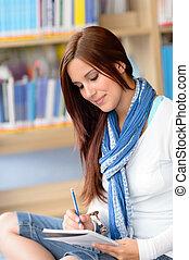 escola, notas, biblioteca, alto, estudante, fazer