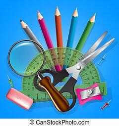 escola, objetos, cobrança, ícones