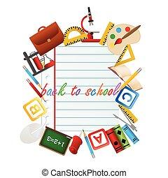 escola, objetos, costas