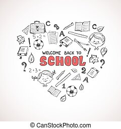 escola, objetos, heart., forma