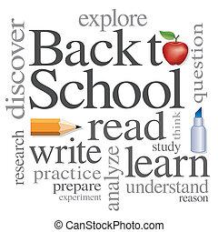 escola, palavra, costas, nuvem