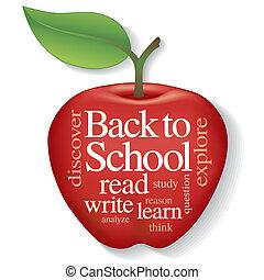escola, palavra, maçã, nuvem, costas