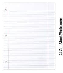 escola, pedaço, papel, em branco, branca, alinhado