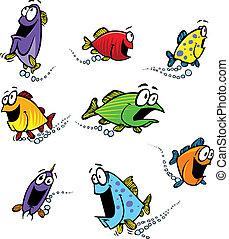 escola, peixe, coloridos