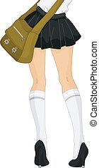 escola, pernas, menina