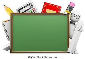 escola, pessoas., tábua, branca, professor, 3d