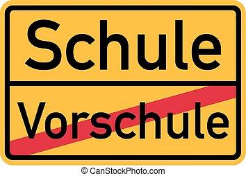 escola pre, alemão, -, sinal, elementar