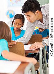 escola, primário, ajudando, estudante, educador, classe