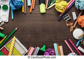 escola provê, com, espaço cópia, ligado, tabela