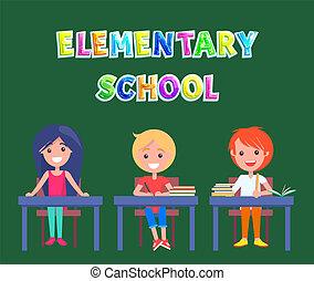 escola, pupilas, cartaz, primário, elementar, ou