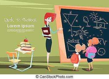 escola, pupilas, sobre, classe, tábua, lição, professor