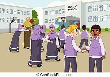 escola, recesso, muçulmano, crianças, pátio recreio, durante, tocando