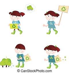 escola, reciclagem, apoio, crianças