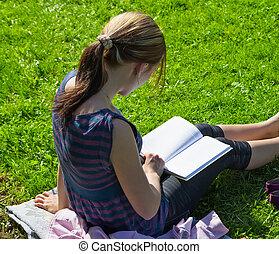 escola reserva, parque, leitura, estudante