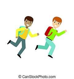 escola, sábio, série, vida, dois meninos, executando, parte, minimalistic, ilustrações, sala aula