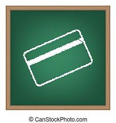 escola, símbolo, efeito, giz, crédito, verde, download., board., branca, cartão