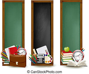 escola, school., costas, três, supplies., vector., bandeiras