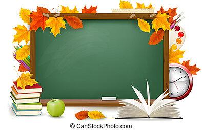 escola, school., leaves., costas, outono, verde, vector., escrivaninha, materiais