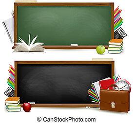 escola, school.two, costas, supplies., vector., bandeiras
