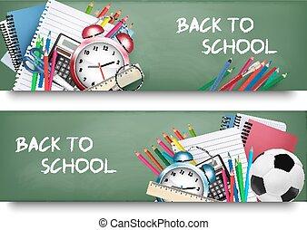 escola, school.two, costas, vetorial, supplies., bandeiras