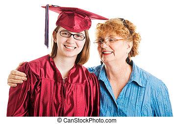 escola secundária, auxiliador, mãe, graduado