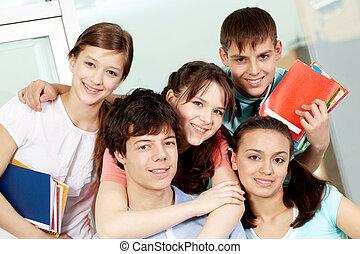escola secundária, estudantes