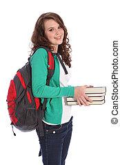 escola secundária, feliz, menina adolescente, em, educação