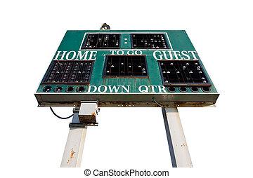 escola secundária, scoreboard, isolado, branco