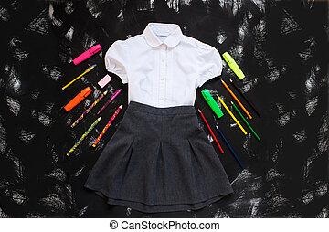 escola, setembro, camisa, cinzento, experiência., year., pretas, materiais, papelaria, novo, branca, saia, primeiro