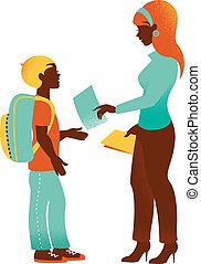 escola, silueta, vindima, costas, ilustração, student.,...