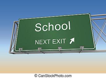 escola, sinal, estrada, ilustração, 3d