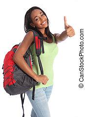 escola, sucesso, adolescente, americano, africano, menina, feliz