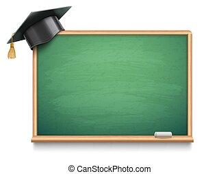 escola, tábua, e, boné graduação