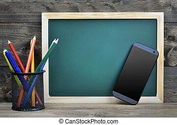 escola, tábua, ligado, tabela madeira