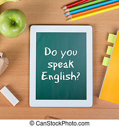 escola, tabuleta, pergunta, inglês, tu, falar