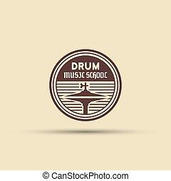 escola, tambor, isolado, vetorial, emblema, redondo