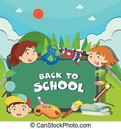 escola, tema, costas, crianças