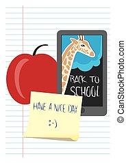 escola, tema, costas